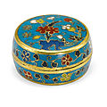 A small cloisonné enamel seal paste box and cover, ming dynasty, 15th-16th century