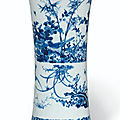 A blue and white gu-form 'floral' vase, transitional period, mid-17th century