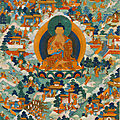 A large painted tangka of buddha and jataka tales, tibet, 18th-early 19th century