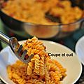Torsades à la crème de poivron, chorizo grillé et champignons