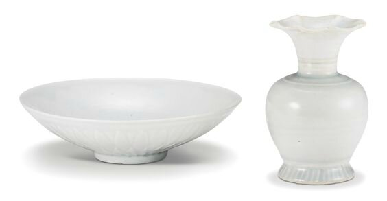 A 'Qingbai' 'chrysanthemum' dish and a Qingbai vase, Song-Jin dynasty