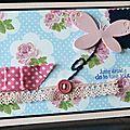 Des roses ... du biais à pois ... de la dentelle ... un papillon qui s'envole ... une carte juste pour faire plaisir !