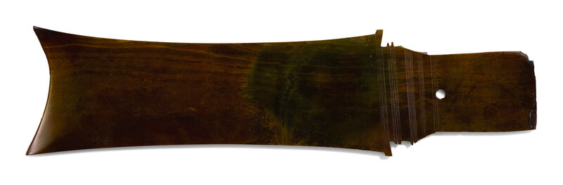 An extremely rare and superb jade ceremonial blade, Yazhang, Shimao Culture, Shaanxi, Neolithic period