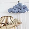 Coussin nuage en lin chambray