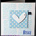 carte de naissance garçon bleu et blanc avec touche de dentelle