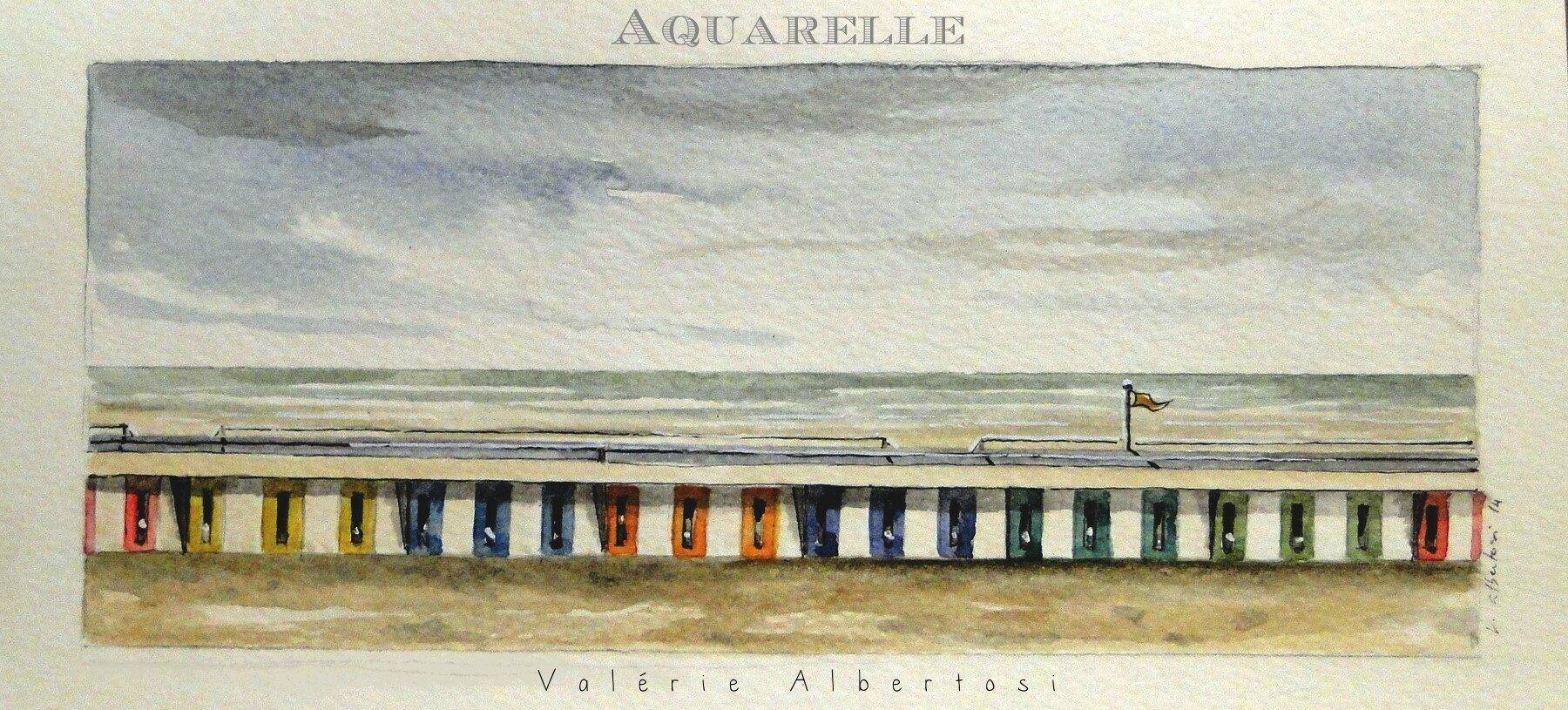 aquarelle Le Touquet plage mer côte d'opale pas de calais peinture valerie albertosi