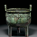 A rare large bronze ritual tripod food vessel, ding, China, Late Shang-Early Western Zhou dynasty, 12th-11th century BC