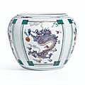A doucai 'dragon' jar, qing dynasty, yongzheng period (1723-1735)