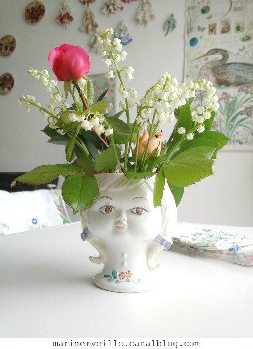 vase tête vintage - muguet - blog marimerveille