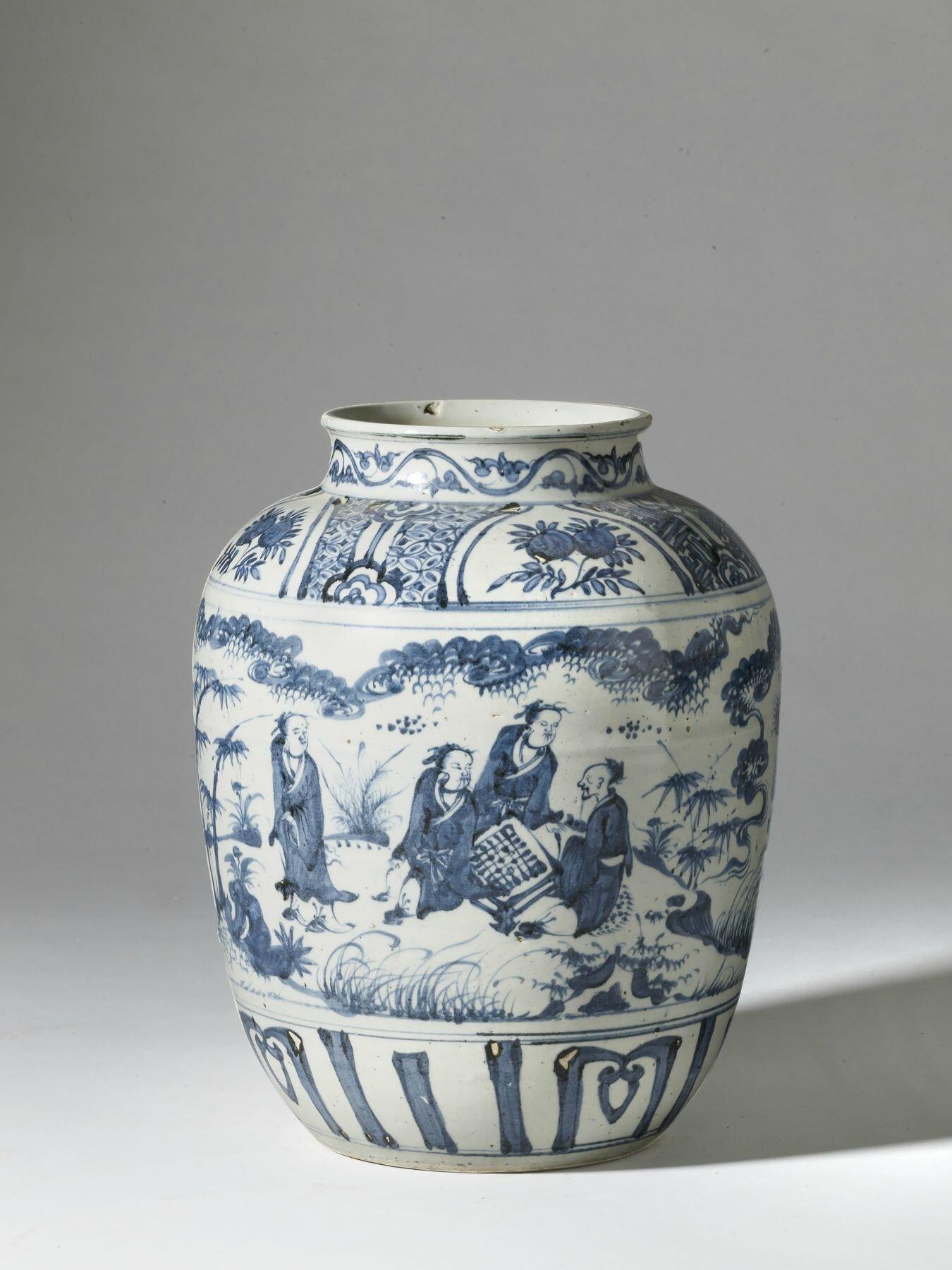 Grand vase en porcelaine bleu blanc, Chine, dynastie Ming, XVIe siècle