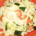 Poelée de riz aux courgettes vapeurs et saucisses