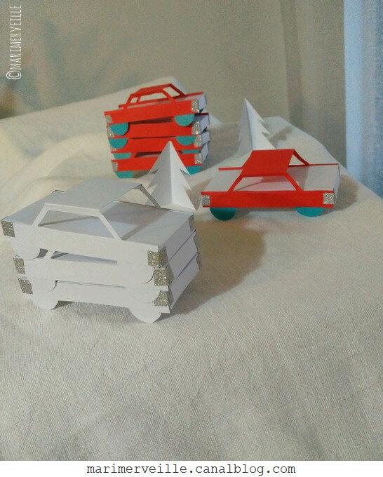 voitures rouges de papier 5- calendrier de l'avent - marimerveille