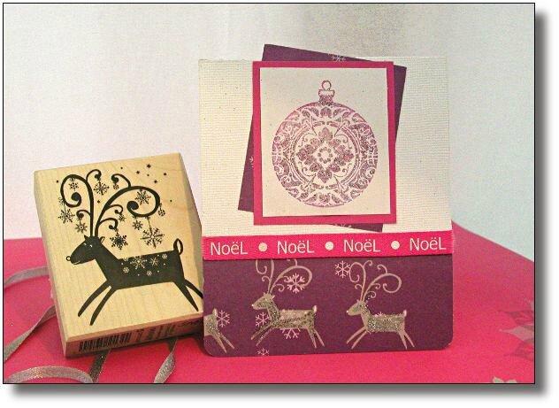 carte Noël rose