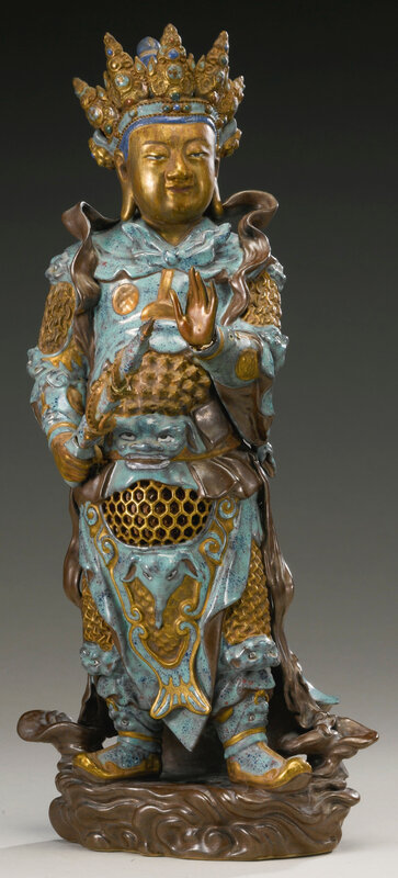 An enamel and gilt-decorated porcelain figure of Weituo, Qing dynasty, 18th-19th century2
