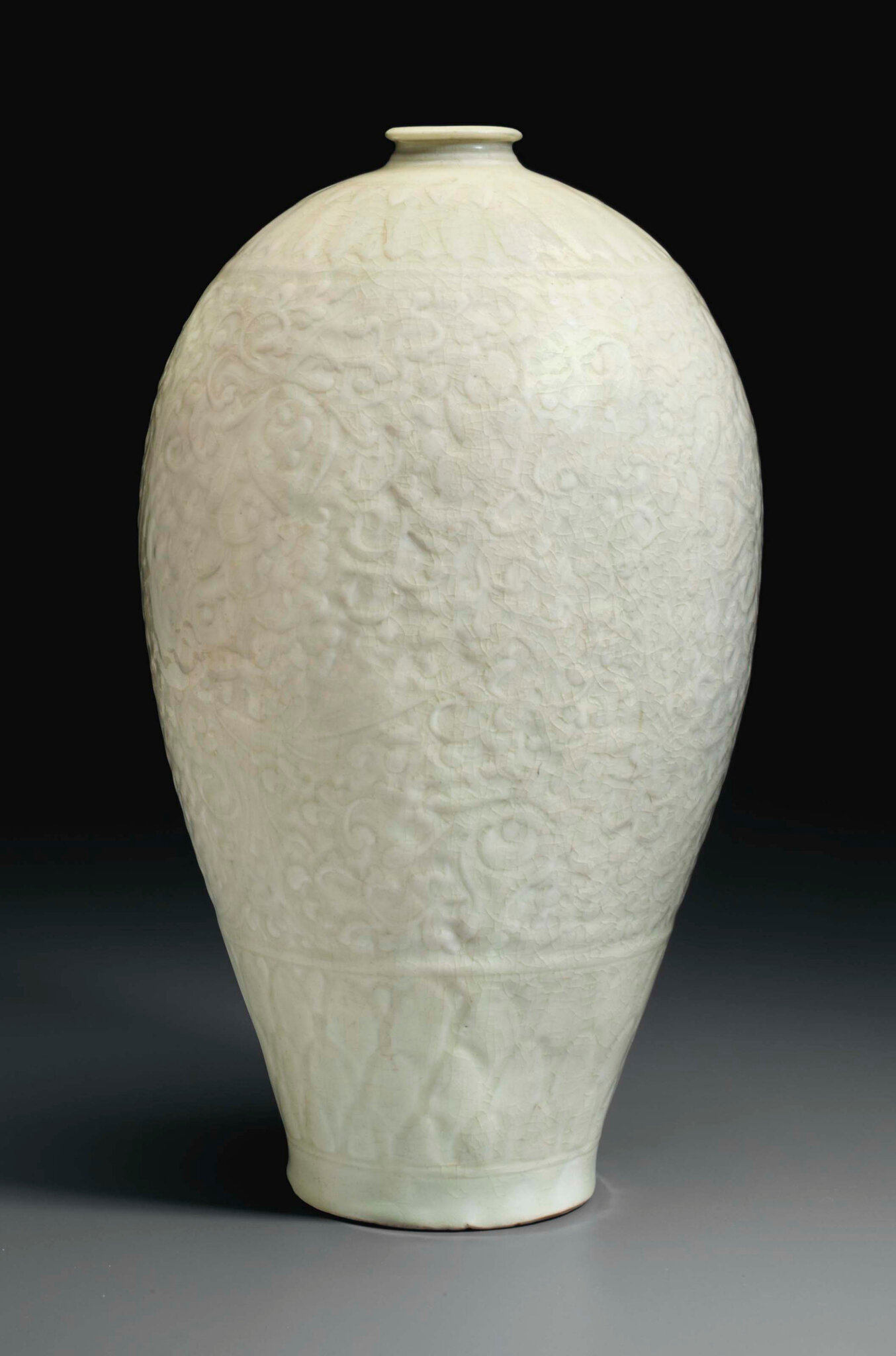 A rare large Qingbai carved meiping, China, Southern Song dynasty (1127-1279)