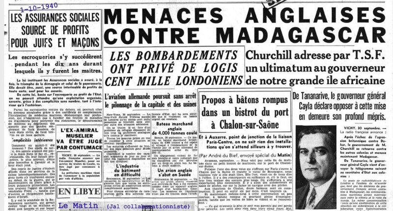 1940 1 oct le Matin Une