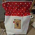 4 pochon noel blanc et rouge à pois transfert Merry Christmas