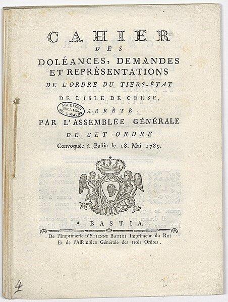 452px-Cahier_des_doléances,_demandes_et_représentations_de_l'ordre_du_Tiers-État_de_l'Isle_de_Corse,_1_-_Archives_Nationales_-_B-a-34_dossier_8_pièce_4