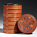 A cinnabar lacquer incised gilt-decorated seven-tiered circular box and cover, jiajing six-character mark and of the period