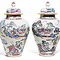 A pair of famille-rose jars and covers, qing dynasty, yongzheng period, circa 1730