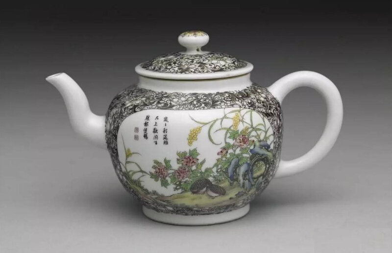 A Yongzheng mark and period pot with two quail in falangcai painted enamels