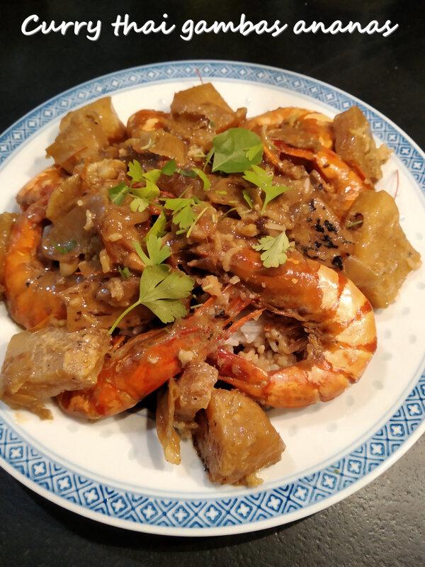 Curry thai gambas ananas