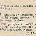 1873 23 juillet : changement de percepteur