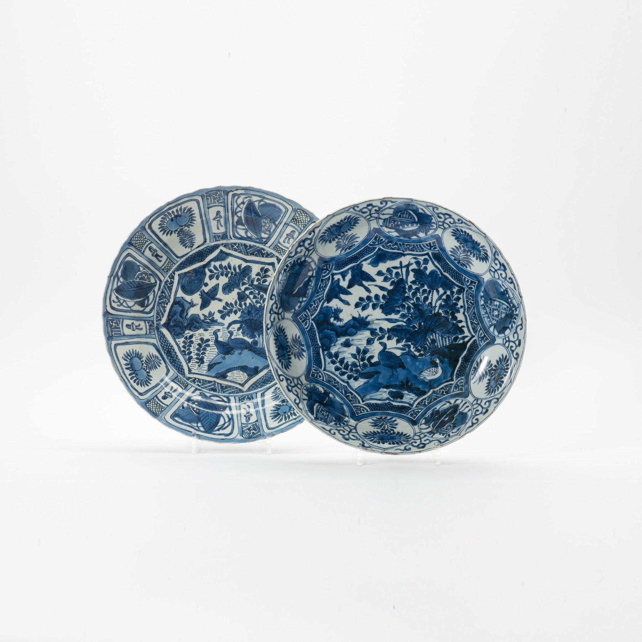 A Kraak porcelain dish and a dish, Wanli period (1573-1619)