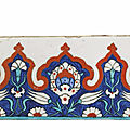 An iznik pottery border tile, ottoman turkey, circa 1590