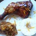 Cuisses de poulet laquées aux 5-parfums, fondue d'endives à l'orange, riz parfumé thaï