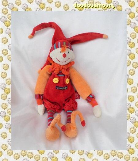 Doudou Peluche Lutin Dragobert Rouge Orange Salopette Moulin Roty 30 cm