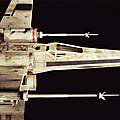 Close-up photos of the x-wing in the original 1977 star wars.