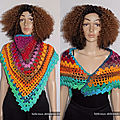 Originale shawl crochet handmade !! kaleidoscope !! woollen multicolour taille 120cm.x 66cm belicious-delicious-creation