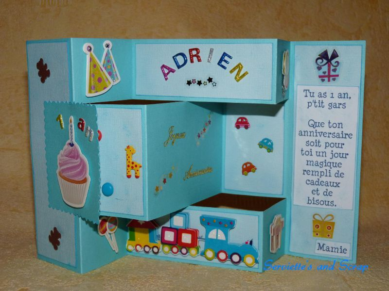 carte anniversaire adrien 1 an voisine serviette 39 s scrap. Black Bedroom Furniture Sets. Home Design Ideas
