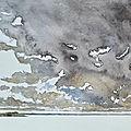 Gros temps au dessus de la pointe du Plomb, et de l'île de Ré, aquarelle, octobre 2020