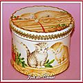 Boîte bois décor Chatons noël passementerie or1 10x8cm