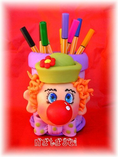 pot à crayons clown