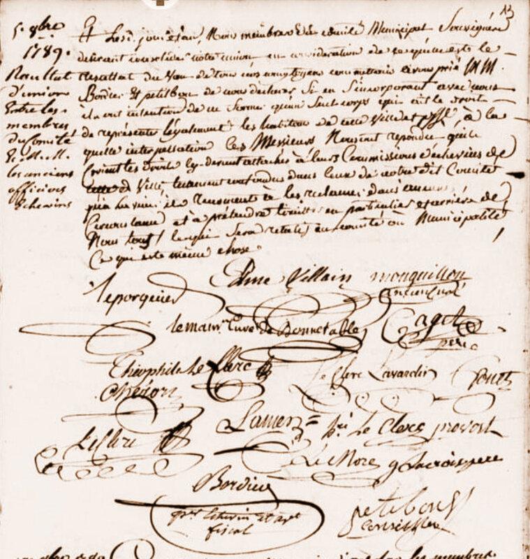 Le 5 octobre 1789 à Bonnétable : approvisionnement en grains.
