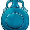 A turquoise-glazed pilgrim flask, qing dynasty, 18th century