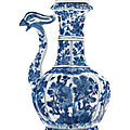 A blue and white phoenix head ewer and cover, kangxi period (1662-1722)
