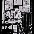 La femme au café - Linogravure