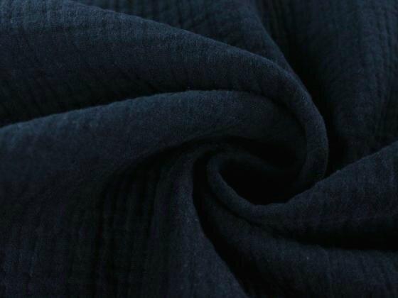 Tissu double gaze de coton uni coloris BLEU FONCE au mètre