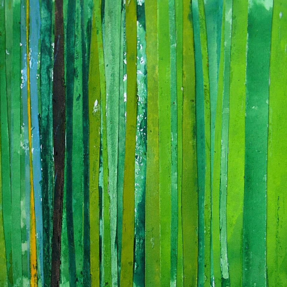 Forêt #19, 2011, acrylique, collage et coulures sur papier, 45 x 32 cm