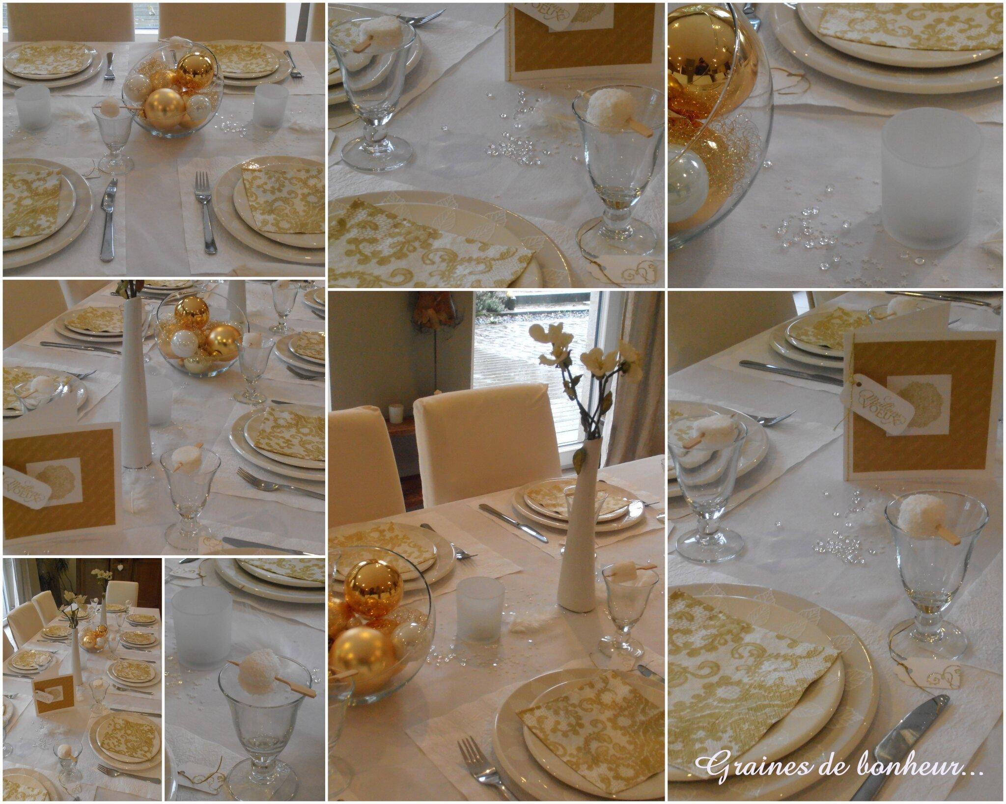 Deco Table De Noel Blanc Et Or