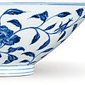 A fine and extremely rare blue and white conical 'rose' bowl, ming dynasty, yongle period (1403-1425)