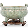 A large carved longquan celadon tripod censer, ming dynasty (1368-1644)