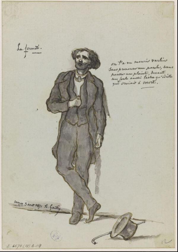 gautier (Armand), autoportrait à la mémoire de Varlin (3 août 1871)