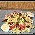 Salade de pâtes, jambon italien, oeufs durs et tomates sechees