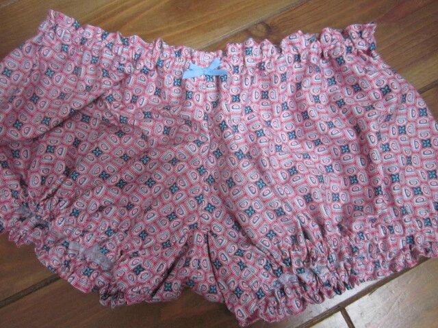 Culotte BIANCA en coton rose et bleu - noeud gros-grain ciel (2)