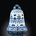 A rare blue and white bell, qianlong underglaze blue four-character seal mark beneath the handle and of the period (1736-1795)